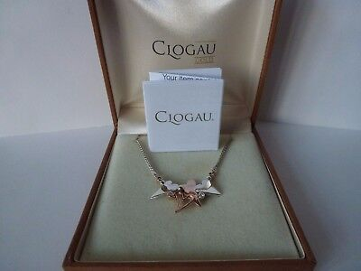 """Clogau Gold, Silver & 9ct Rose Gold Scattered Heart Necklace 18"""" Chain"""