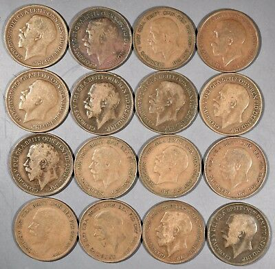 UK GREAT BRITAIN 1911-1936 Large PENNY Coins (16) George V Grade G-XF A4113