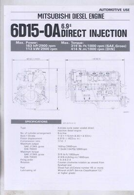 1983 Mitsubishi 6D15-OA 6.9 Direct Injection Diesel Engine Brochure wy8622
