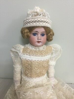 """Antique Bisque Doll Armand Marseilles 3500 In A Kid Body 16"""""""
