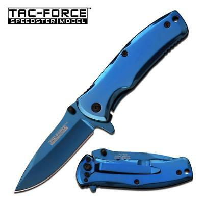 TAC FORCE Stainless Steel Spring Assisted Folding Knife Blue Titanium
