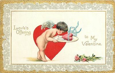 Valentine~Cupid Has Love Heart On Platter~Roses~Emboss~Gold Lace Border~TUCK
