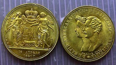 "Russian Marriage 'GOLD"" COIN medal dated 1841 For Marriage of The Alexander i"