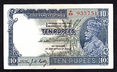 India 10 Rupees J.W.Kelly  P/45 933751 P. 16b F+ George V Note RARE