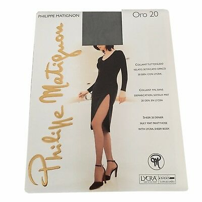 789e4f90a38 NEW PHILIPPE MATIGNON Matt 10 Sz Small Black Sheer Stockings Tights ...