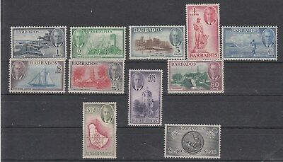 Barbados: 1950 KGVI definitives set of 11. MUH/Mint. very Scarce & Going cheap