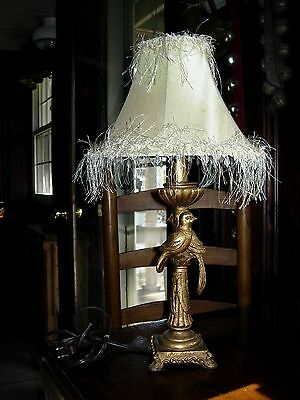 Vintage Art Deco W/ Birds Electric Table Lamp W/ Beaded & Fringed Shade Works