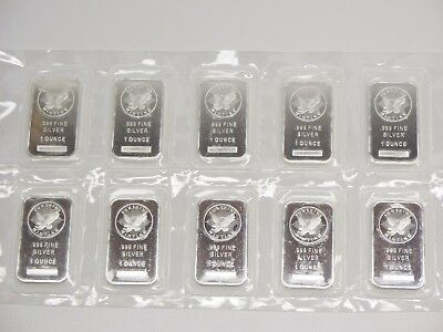 10 Sunshine Mint 1 Oz .999 Fine Silver Bars