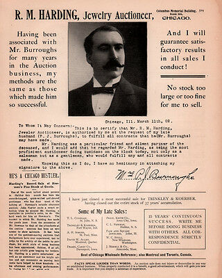 ad lot of 2 1900 - 1902 A ADs   HARDING JEWELRY AUCTIONEER LATE BURROUGHS LETTER