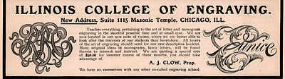 Ad Lot Of 3 1900 A - 1903 A Ads  Illinois College Engraving Masonic Temple Clow