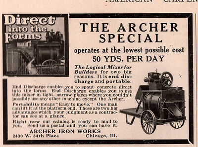 1915 B Ad Archer Special Iron Works Cement Mixer