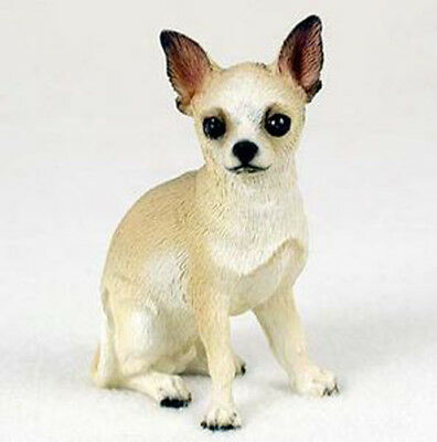 CHIHUAHUA  DOG Figurine Statue Hand Painted Resin Gift Pet Lovers Tan White
