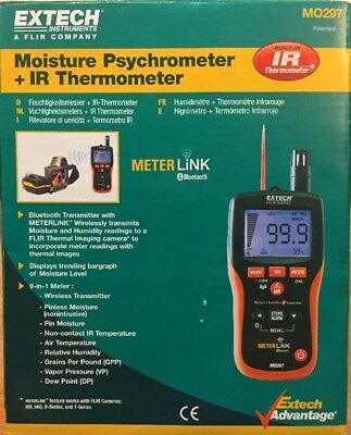 Extech MO297 Pinless Moisture Psychrometer w/ IR Thermometer and Bluetooth Meter