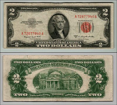 1953B $2 Dollar Bill Old Us Note Legal Tender Paper Money Currency Red Seal Q863