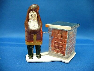 Vintage Glass Toy Santa Claus By Chimney Candy Container 1920