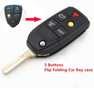 Folding Flip Key Shell 5 Button for VOLVO S60 S80 V70 XC70 XC90 Remote Case FOB