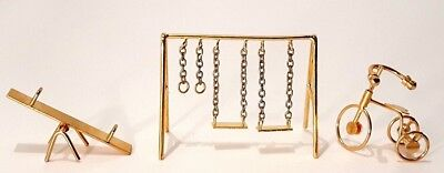 Vintage Dollhouse Playground Swing Set Tricycle See Saw Miniature Gold Metal Lot