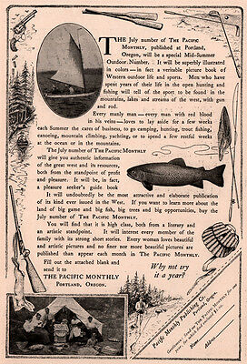 Early 1900 's Ad The Pacific Monthly Magazine Fly Fish Sail Camp