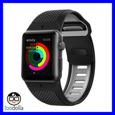 NOMAD Sport Strap / Band for Apple Watch 42mm, Black and Slate Grey Silicone