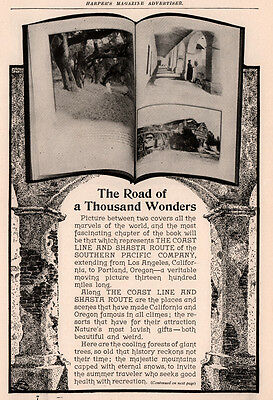 1906 A Ad Road Of Thousand Wonders Coast Line Shasta Southern Pacific Railroad