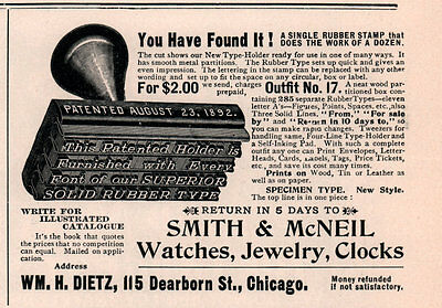 1900 Ad  Smith Mcneil Rubber Stamp