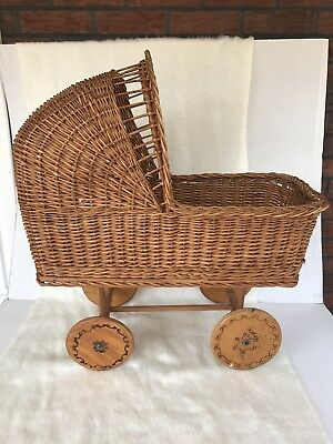 Vintage Wicker/Rattan Baby Buggy Baby Doll Carriage Wood Wheels