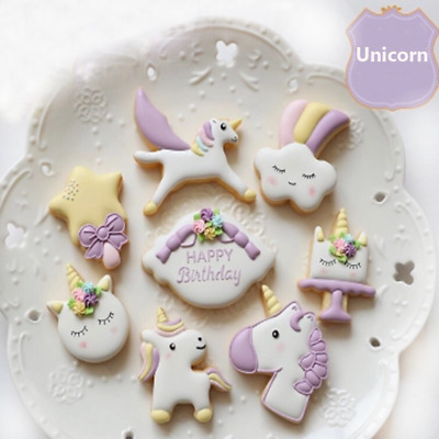 8X Unicorn Cookie Chocolate Mould Sugarcraft Cake Decor Mold Cutters Baking Tool