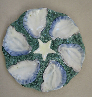 """Majolica Digion Oyster Plates Starfish Marked Geneve France - 2 Available 9 3/4"""""""