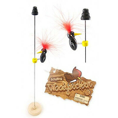 ONE Schilling Pecking WOODPECKER on Pole Novelty Desk Toy Stocking Stuffer