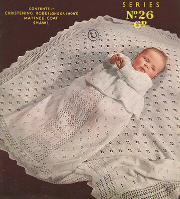 Vtge Knitting Pattern Copy To Knit A Baby's Christening Set With Shawl -  1950's