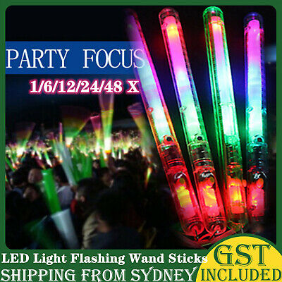 1/6/12/24/48 LED Light Flashing Wand Sticks Colour Changing Glowstick Party Glow