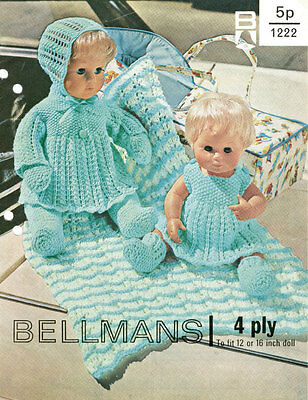 """VINTAGE KNIT PATTERN COPY - TO KNIT FOR 12 & 16"""" DOLLS - FITS BABY BORN-1960's"""