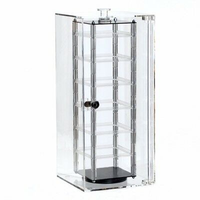 Revolving Rotating Acrylic Earring Display Case With Security Lock