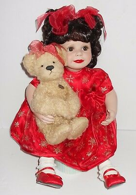 Marie Osmond Baby Annette Holiday Seated Porcelain Doll - Mint Condition