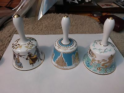 3 Christmas Annual Bells  - Hammersley -  1980 ,1972 , 1975 - 5 1/2 Inches