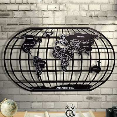 World Map Wall Decor Black Metal Wrought Iron Rack Art Wall Sculpture office AU