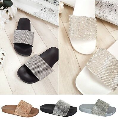 New Womens Ladies Sparkly Bling Diamante Sliders Slip On Summer Sandals Shoes Sz