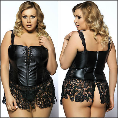 Plus Size Corset Bustier G String Faux Leather Venice Lace Lingerie Steampunk
