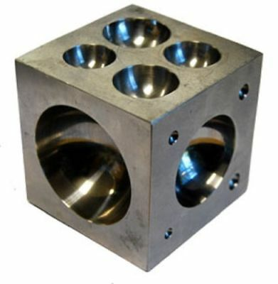 """Jewelers Dapping Block With 18 Round Cavities 2"""" Polished Stainless Steel"""