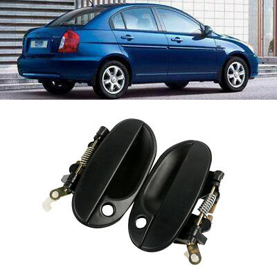 Black Outside Exterior Door Handle Driver Passenger  For Hyundai Accent 95-99
