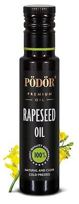 Podor Premium Cold-Pressed Rapeseed Oil in dark bottle 250ml, Nature and Clear
