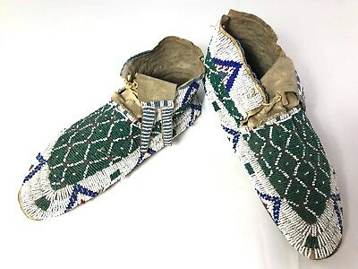 Plains Indian Beaded Moccasins - Pair #1