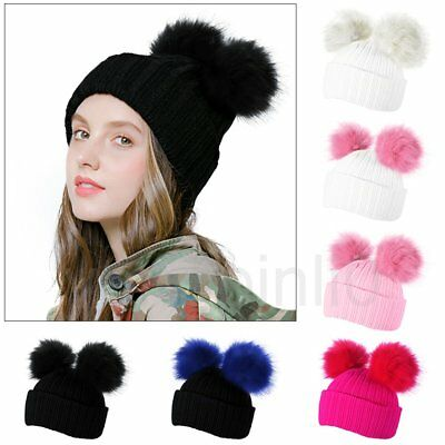 Women Double Fur Pom Bobble Knit Beanie Hat Cap Ski Winter Warm Cute Outdoor UK