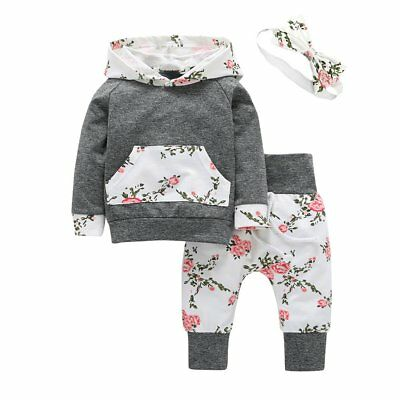 3PCS Newborn Infant Kids Baby Girl Hooded Sweater Tops+Pants Outfits Clothes Set