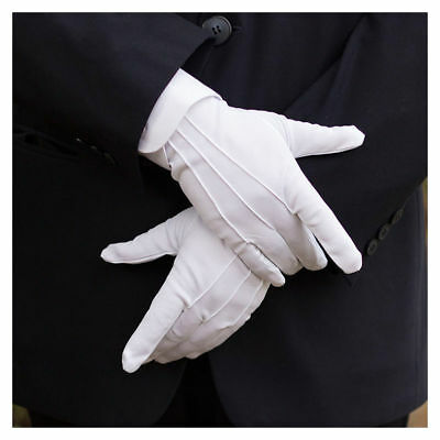 Perfect 1Pair Unisex Polyester White Gloves for Catering Military Inspection