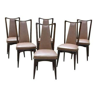Set Of Six French Art Deco Solid Mahogany Dining Chairs 1940s AS IS.