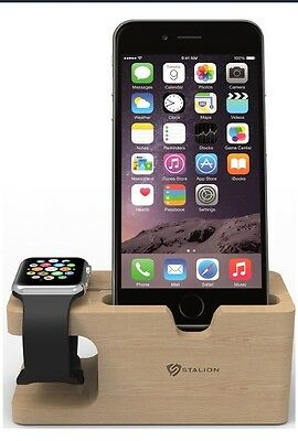 Apple Watch Stand Stalion Desktop Charging Dock Station iPhone 6 6s Plus BAMBOO