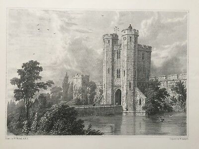 1827 Antique Print; Maxstoke Castle, Warwickshire after William Westall. Scarce
