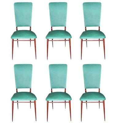 Fine Set Of Six French Art Deco Solid Mahogany Dining Chairs 1940s AS IS.