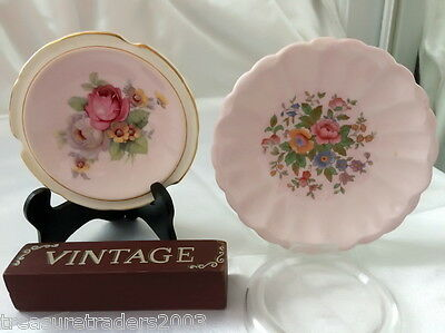 🌟 2 x DIFFERENT PARAGON ENGLAND PINK FLORAL PIN OR BUTTER DISHES BONE CHINA